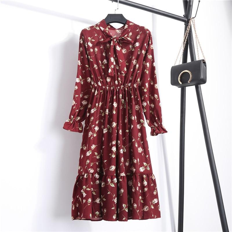 2018 Autumn Women Dress For Female Long Sleeve Red Black Floral Polka Dot Vintage Chiffon Shirt Dress Casual Winter Midi Dress