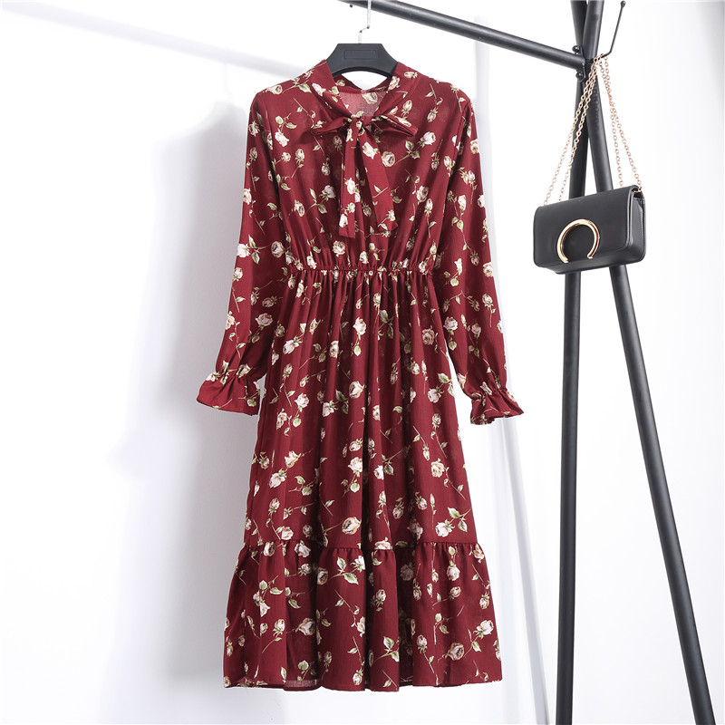 2020 Autumn Women Dress For Female Long Sleeve Red Black Floral Polka Dot Vintage Chiffon Shirt Dress Casual Winter Midi Dress