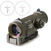 Tactical Rifle Scope 1x 4x Fixed Dual Purpose Scope Red illuminated Red Dot Sight for Rifle Hunting Shooting