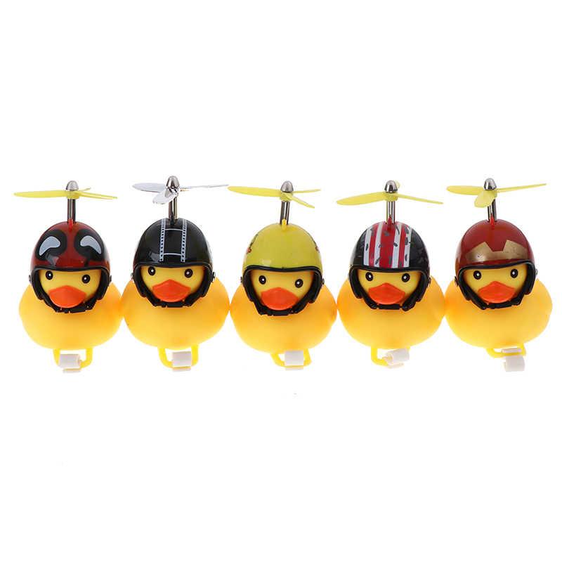 Timbres para bicicleta, 1 Uds., Gel de sílice amarillo de dibujos animados, forma de pato, Manillar de bicicleta de montaña brillante, accesorios para cabeza de pato