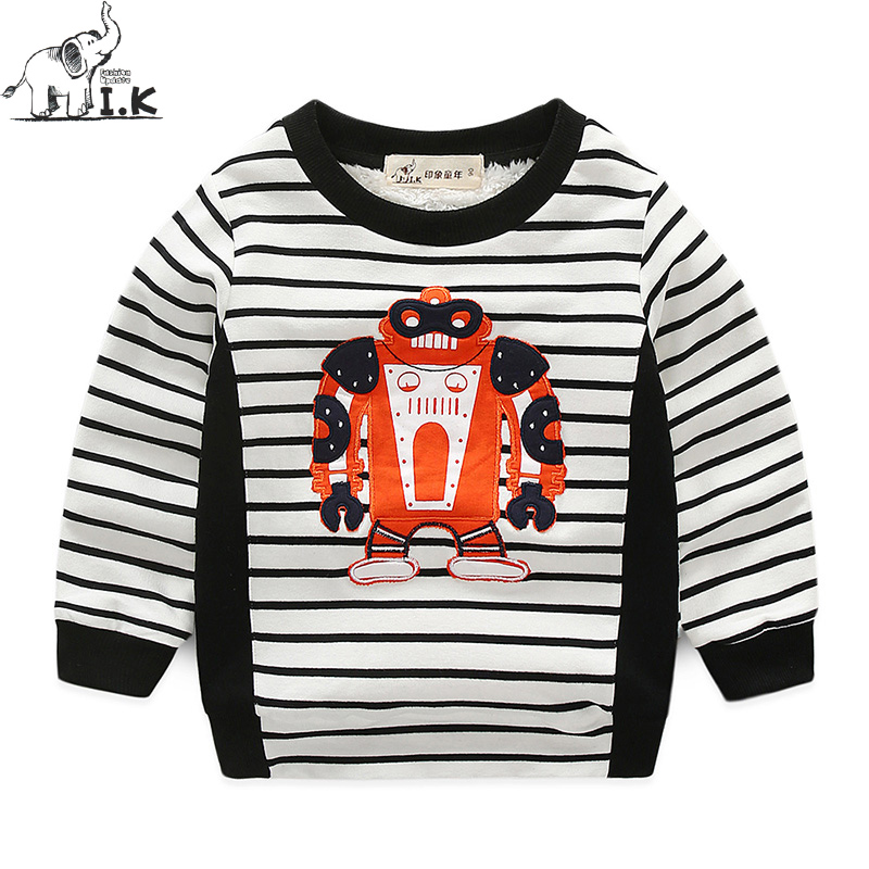 Baby boys new winter warm velvet plus hoodies Children kids casual robot hot sale sweatshirts cotton sportwear WY25054 Christmas