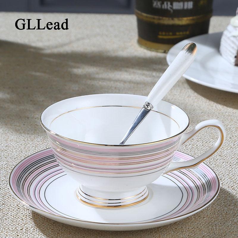 GLLead Mode Gouden Lijnen Keramische Thee Kop En Schotel Europese - Keuken, eetkamer en bar