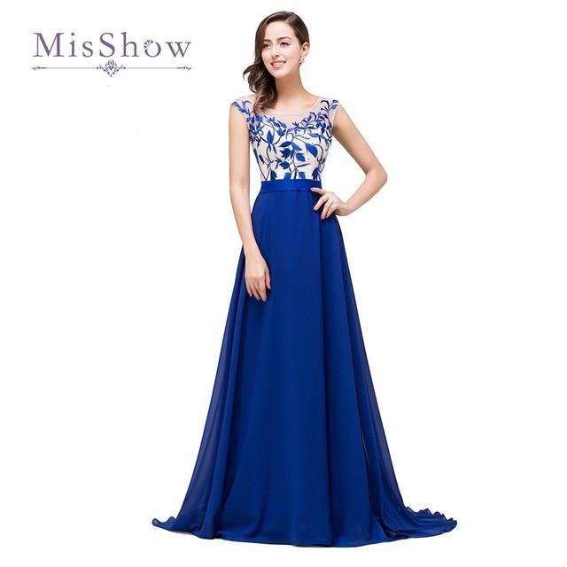 63696f1f4afe Abiti Da Cerimonia Da Sera Royal Blue Evening Dresses 2017 Long A Line Prom  Evening Gowns