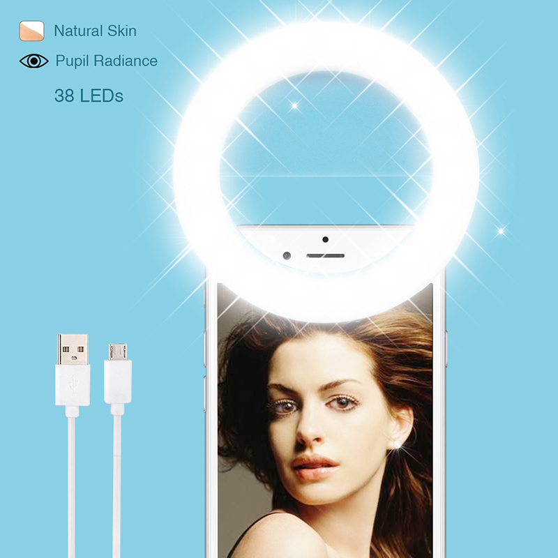 Ring Light Phone Camera Selfie Light 38 LEDs 4 Colors Adjustable USB Rechargeable Lamp for iPhone 6/7s Plus,Galaxy,Huawei,Xiaomi