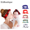 New fashion printed Family Matching headwear Milk Soft cotton fabric girls headwear mother daughter headband retail 2 pcs/set