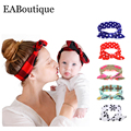 Nueva moda impreso Familia sombreros A Juego Leche Suave tela de algodón girls headwear diadema de madre e hija menor 2 unids/set