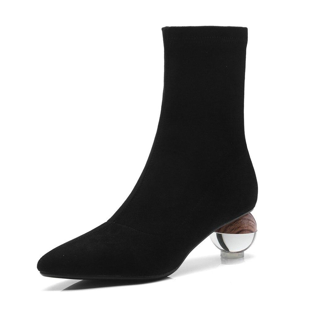 Otoño brownfur Rodilla Punta Invierno Mediados Extraño Becerro Zapatos Para Tacones Botas Las black Del blackfur Pie Aiweiyi Mujeres Altos Medio De Dedo Estilo Brown 0Bfxq7wwT