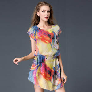 f031c826d65a8 MingJieBiHuo Fashion women elegant dress new arrival summer OL Office  casual o-neck short sleeve floral chiffon plus size dress