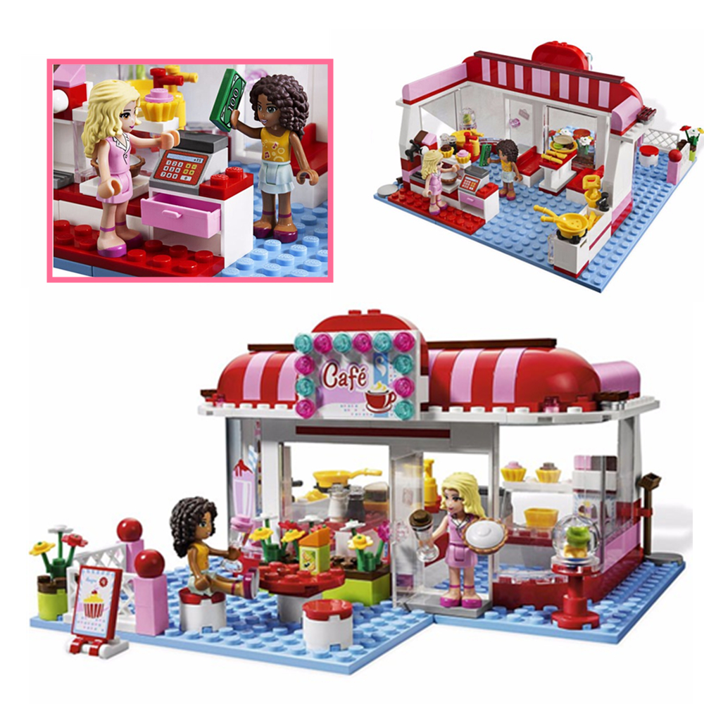 Girls City Park Cafe model building Blocks Bricks Toy Girl Toys children House Gift Compatible With lego gift Friends kid set 10551 elves ragana s magic shadow castle building blocks bricks toys for children toys compatible with lego gift kid set girls