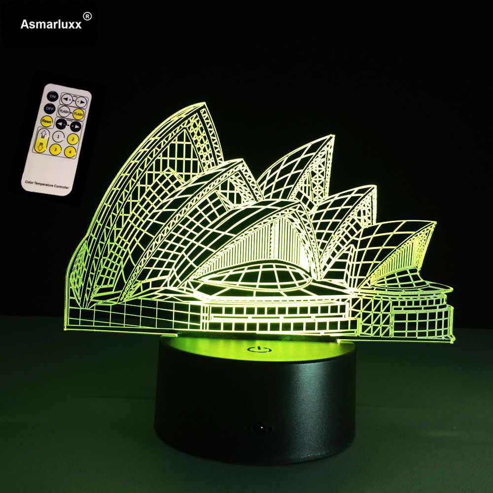 3D лампа визуальный свет эффект Сиднея опера лампа с голограммой сенсорный выключатель и дистанционное управление 7 цветов изменения ночник USB подключен