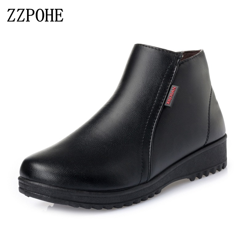 ZZPOHE Winter Women Shoes Woman Fashion Genuine Leather Flat Ankle Boots Mother Casual  Comfortable Non-slip Wedges Snow Boots fashion brand genuine leather shoes for women casual mother loafers soft and comfortable oxfords lace up non slip flat moccasins