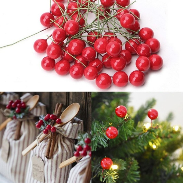 100pcs Christmas Red Artificial Holly Berry Diy Home Garden