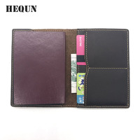 HEQUN Vintage Crazy Horse Leather Passport Cover Men Genuine Leather Passport Wallet Credit Card Holder Business
