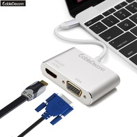 CableDeconn Thunderbolt 3 USB Type c to HDMI 4K VGA 1080P Female Portable Cable Adapter for Macbook Pro 2017 Samsung S8 Dell XPS