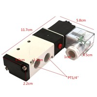 Durable In Use DC12V Pneumatic Aluminum Electric Solenoid Air Valve 5 Way 2 Position 4V 210