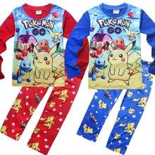 Купить с кэшбэком New Home Service Boys Long Sleeve Bikachu Children Pajamas Set 1128