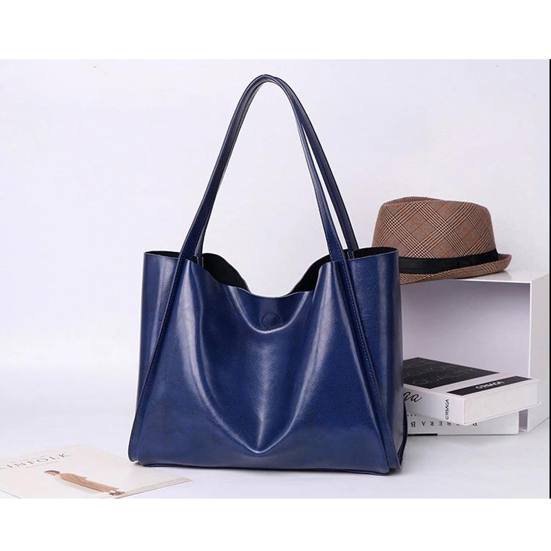 Fashion European and American Women Handbags Genuine Leather Shoulder Bag Ladies Casual Tote Large Capacity Top-Handle Bolsa teemzone top european and american fashion evening bag ladies genuine leather long style hasp note compartment wallet j25