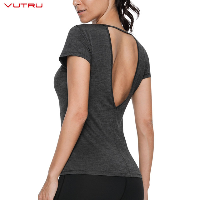 Backless Black Sports Shirts for Ladies