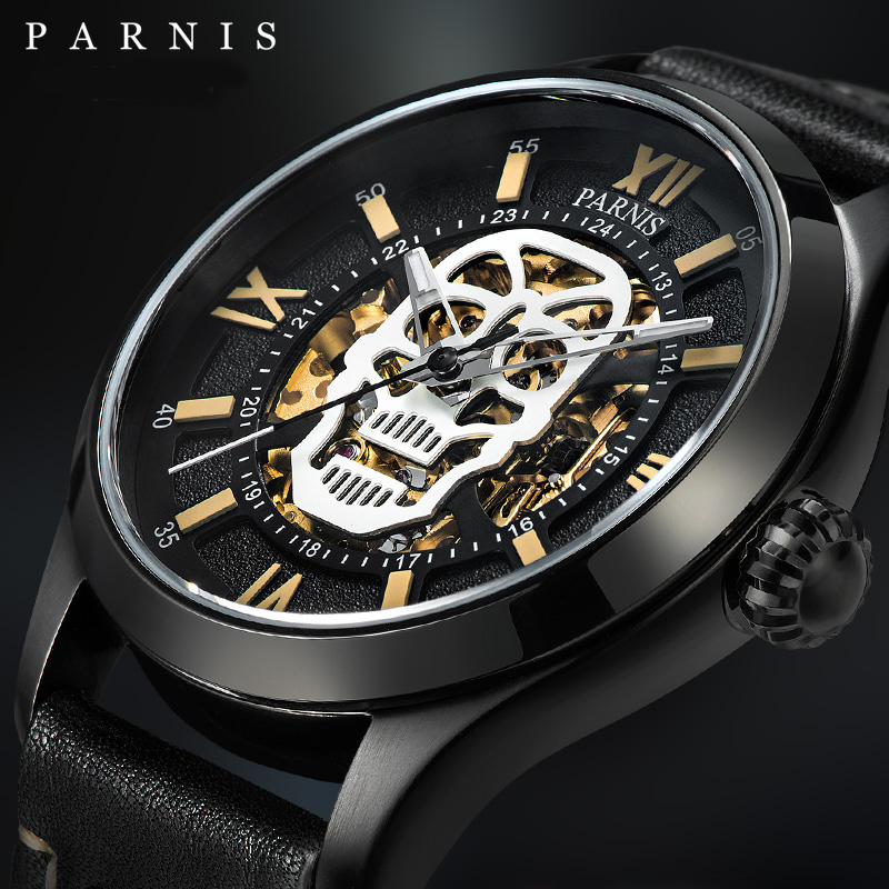 Parnis reloj automático calavera esqueleto luminoso auto viento Wacht hombres negro Bahía cuero zafiro vidrio PA6054-in Relojes mecánicos from Relojes de pulsera    3