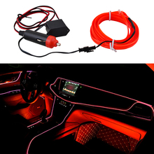 Universal 2M 12V Red LED Car Auto Interior Decorative Atmosphere Wire Strip Lamp