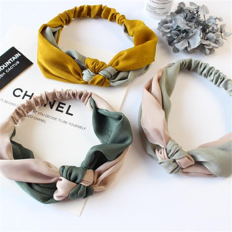 1 PC  Korean Style Fashion Women Girls Cross Patchwork Headband Headwear Female Bezel Hairband Satin Noodles Hair Accessories