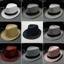 цена на New fashion men's fedora Cotton and linen fabric Panama solid color hat jazz hat men and women couples England visor