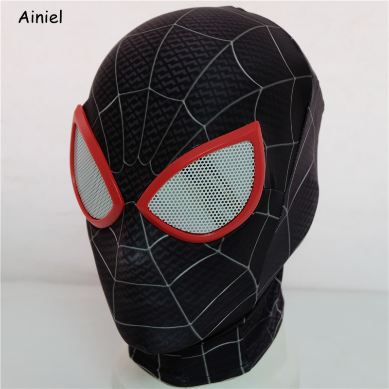 Spider Man: Into the Spider-Verse Miles Morales Peter Parke Mask Cosplay Costume Superhero Zentai Spiderman Mask Adults Men Kids