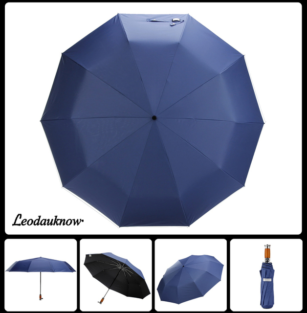 Genuine Brand 125cm Big Automatic Quality Double Layer Umbrella Rain Women 3Fold Windproof Large Outdoor Umbrella Men Woman 5