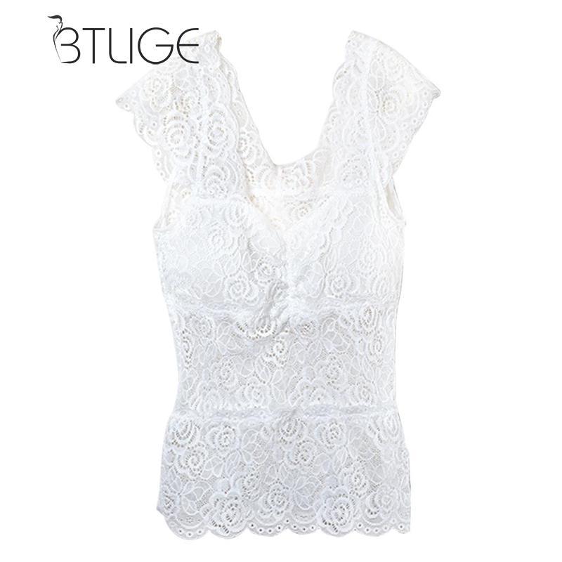 BTLIGE Women Underwear Lace Top Black White Female Women Thermal Underwear Ladies Lace Top Stretch Slim Top Tank Underwear