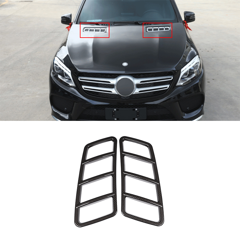 2Pcs Carbon Fiber ABS Plastic Engine Roof Hood Frame Trim For Mercedes Benz ML GL GLE