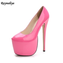Women Plus Size 35-44 18cm Extreme Sexy High Heels Pumps 8cm Platform Nude Heels Pumps Red Wedding Lady Party Shoes MS-A0008 diamond wedges red women wedding shoes high heels sexy lady rhinestones buckle women pumps plus size 43