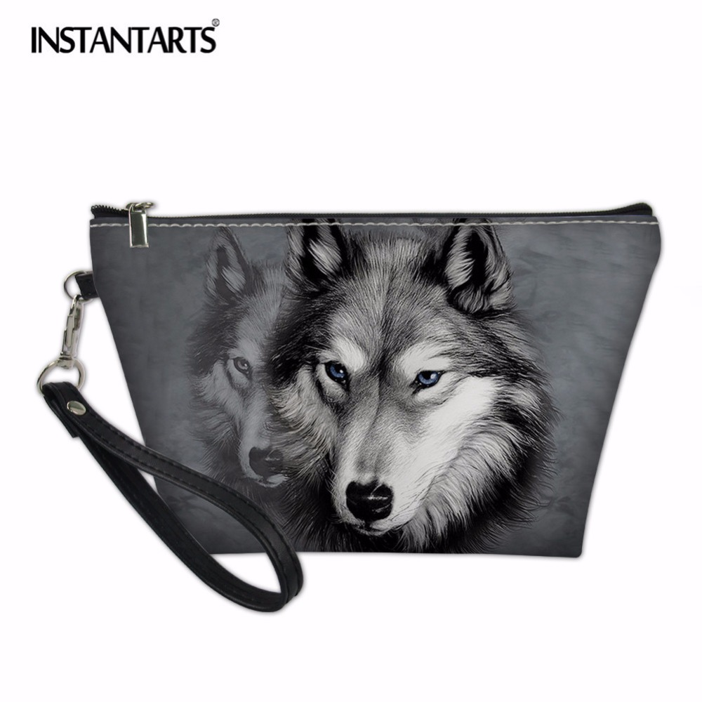 INSTANTARTS Animal Wolf 3D Print Womens Makeup Organizer Cases Travel Girls Fashion Cosmetic Bags Handbags Makeup Pounch Bags