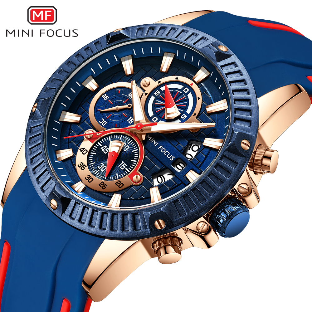 2019 Men Sport Watches Fashion Casual Blue Rose Gold Rubber Strap 3D Bolt Waterproof Top Brand Man Luxury Military Mens Watch