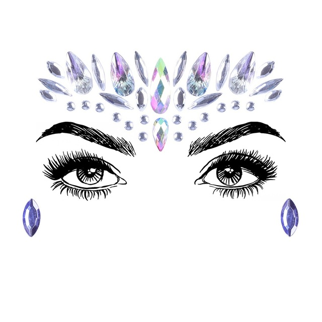 1Sheet Face Jewels Rhinestones Adhesive Crystal Face Gems Beauty Body Glitter Tattoo Art Eyebrow Face Body Jewelry 3