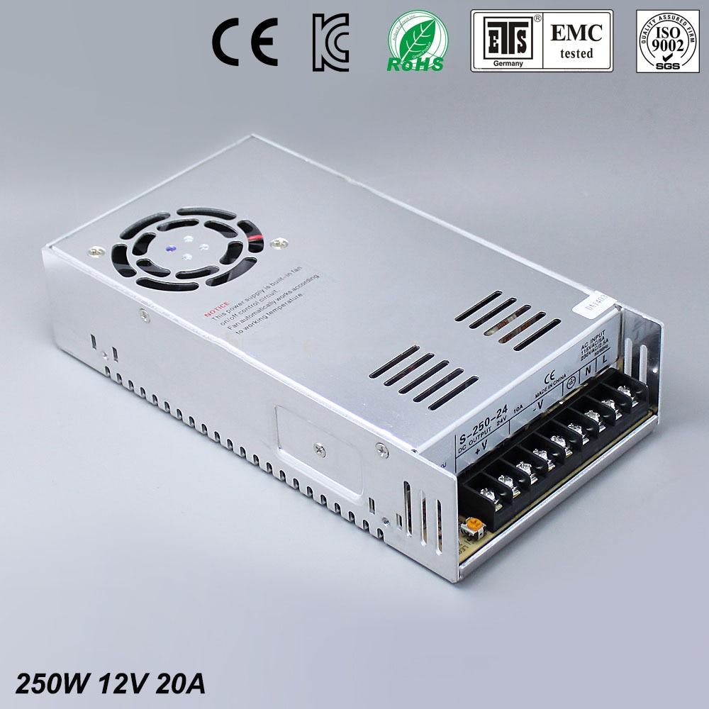 12 V 20A 250 W Alimentation à découpage Pilote pour la Bande de LED AC 100-240 V à Dc 12 V livraison gratuite