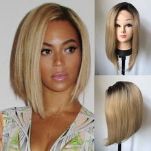 Aurica Fshion Natural Dark Brown Roots Ombre Blonde Short Bob Heat Resistant Synthetic Hair Lace Front Wig