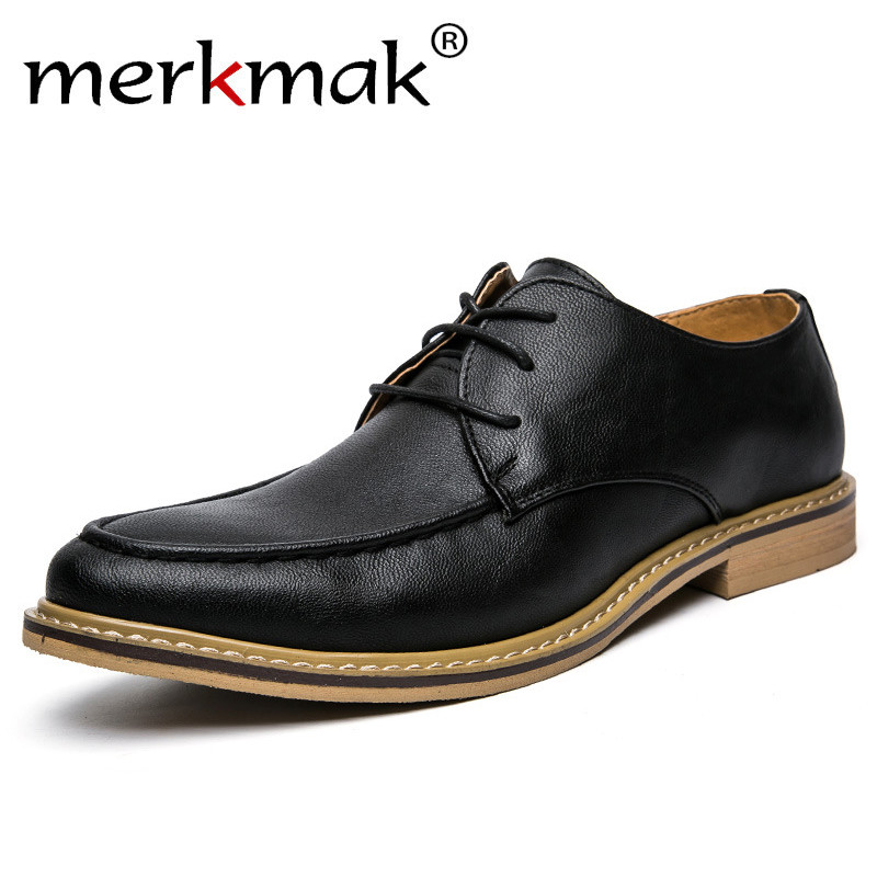 Merkmak 2020 New Men Dress Shoes Retro Leather Oxford Shoes Lace Up Pointed Toe Business Work Party Wedding Mens Flats