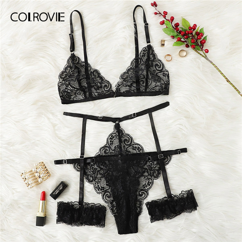 COLROVIE Black Scalloped Trim Floral Garter Women Lace Lingerie Set 2019 Sexy Femme Intimates Transparent Underwear Bra Set