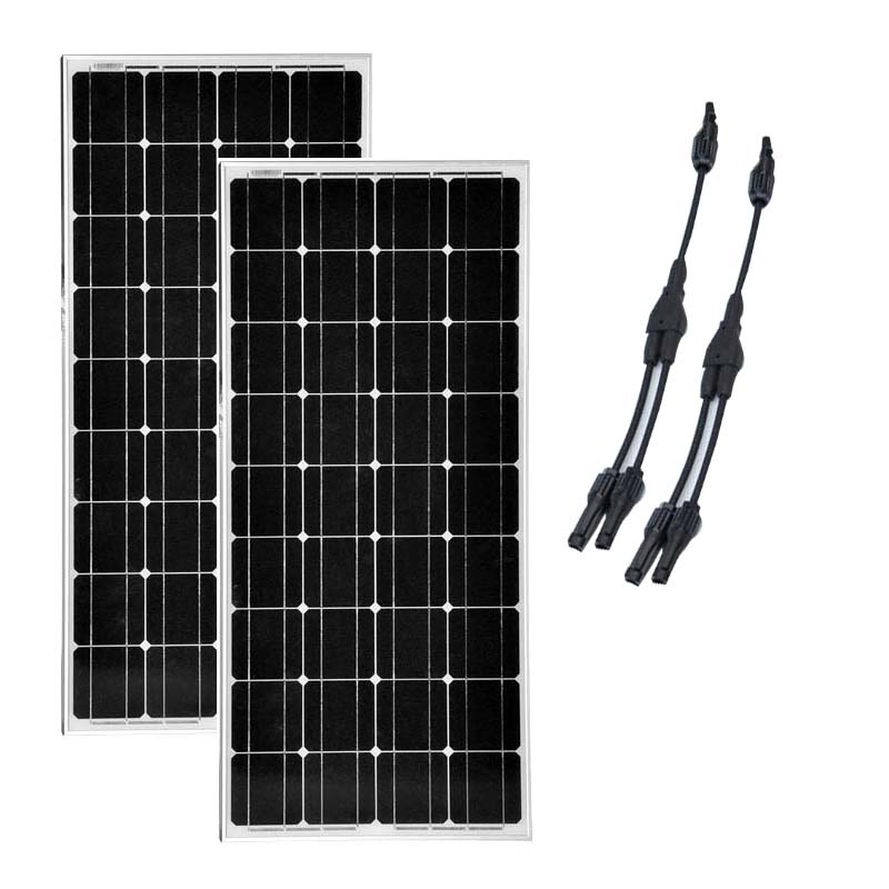 Photovoltaic <font><b>Panel</b></font> 12v 100w 2 PCs Solarpanel 24v 200w Chargeur Solaire 2 in 1 Connector RV Motorhome LED Car Caravan Camping image