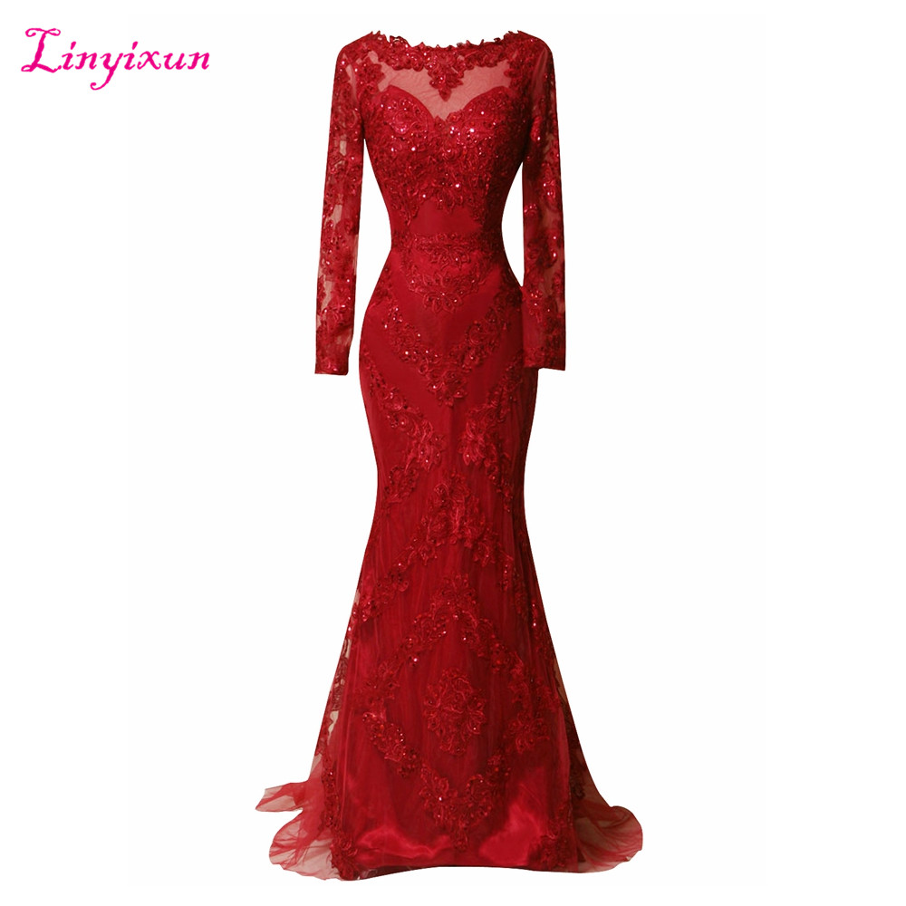 Linyixun Real Photo Vestido de festa Long Sleeve Scoop Neck Evening Dresses 2017 Sweep Train Red Lace Appliques Prom Dresses(China)