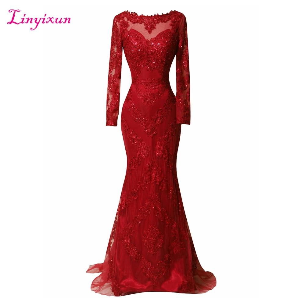 Linyixun Real Photo Vestido de festa Long Sleeve Scoop Neck Evening Dresses 2017 Sweep Train Red