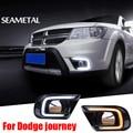 Para Dodge Journey Fiat Freemont 2014 2015 2016 Carro DRL LED de Condução Diurna Luz Sua Vez Lâmpada À Prova D' Água Acessórios de Decoração