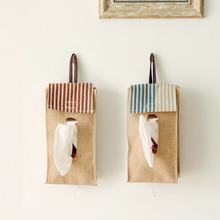 Cloth Multipurpose Jute Cotton Bags Home Hanging Bags Tissue Box Holder Case Folded Paper Towel Box Pumping Storage Organizers