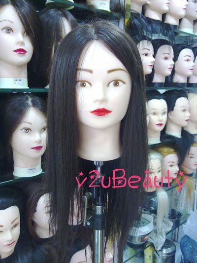 "PA Female 85% Real Human Hair Hairdressing Mannequin Head Hair Extensions Black hair 20"" high quality, can dry/marecl/dye"
