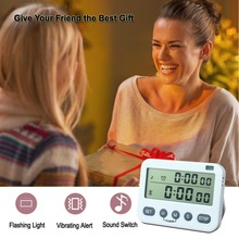 Digital LCD Kitchen Timer Magnetic Timers Cooking  Vibration/sound/astigmatism clock Display Hour/Min/Sec AM/PM (White)