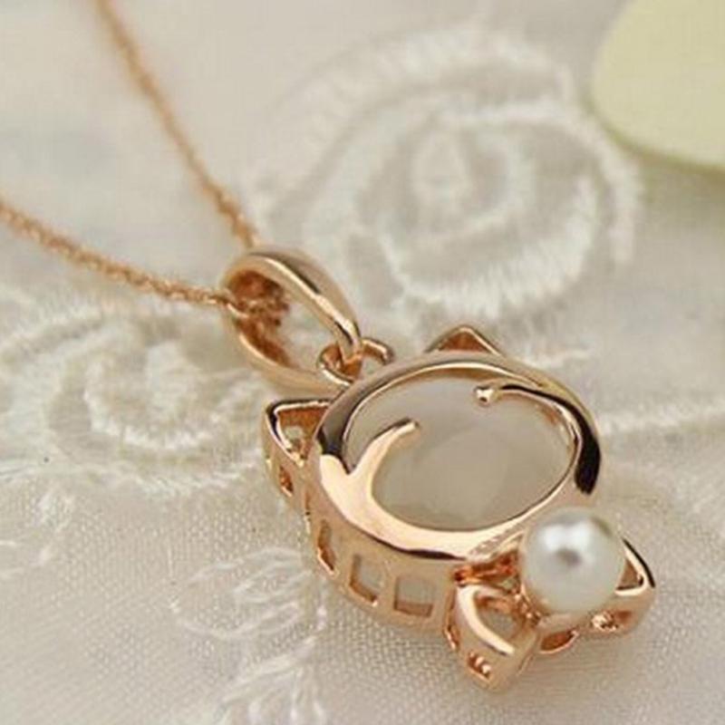 20Pcs/lot Cute Pearl Cat Pendant Collar Necklace Elegant Women ...