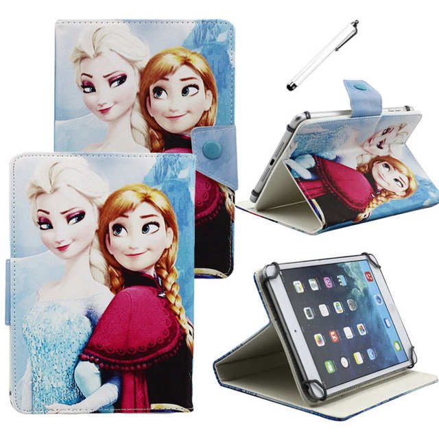 US $9 49 5% OFF|Kids Girls Gifts Mermaid Snow White Princess Universal PU  Leather Case for 7
