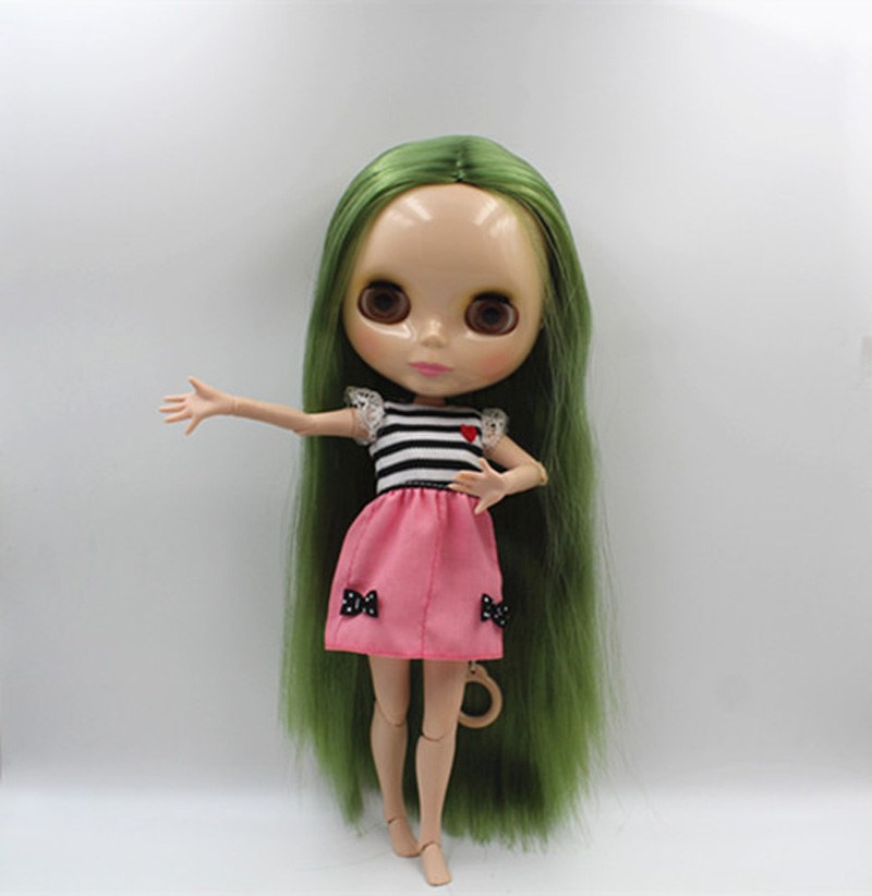 Free Shipping BJD joint RBL-372J DIY Nude Blyth doll birthday gift for girl 4 colour big eyes dolls with beautiful Hair cute toy