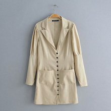 2019 latest design solid color long sleeve vintage blazer women streetwear linen cotton ja