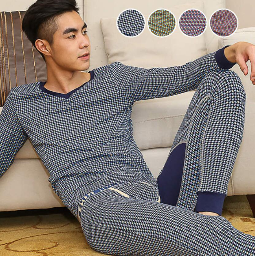 Tops and pants Brand Hot Winter Men Thermal Underwear Sets Thin Pringting Long Johns High Quality Elastic Warm Underwear Suit
